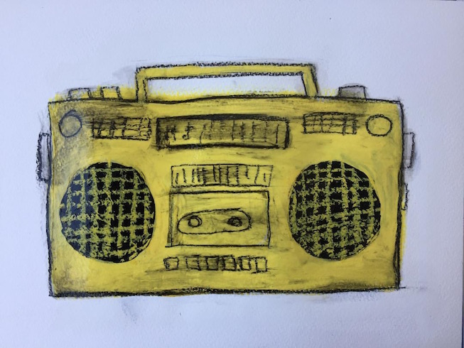 Yellow boom box, 2018, charcoal and acrylic on paper, small work
