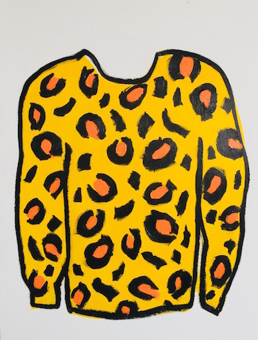 Leopard shirt, 2018, oil stick and acrylic on wood, 64,5 x 49,5 cm