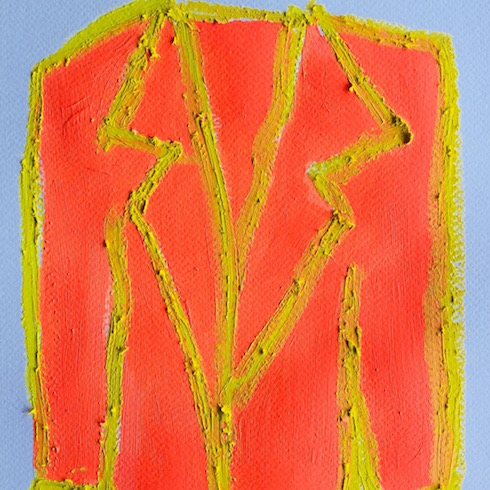 Veston #2, 2018, oil stick and acrylic on paper (small work)