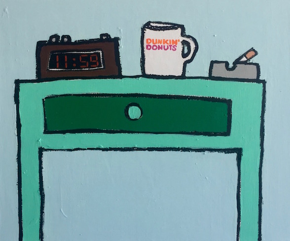 Bed table with Dunkin Donut cup, 2019, oil stick and acrylic on canvas, 51cm x 61 cm