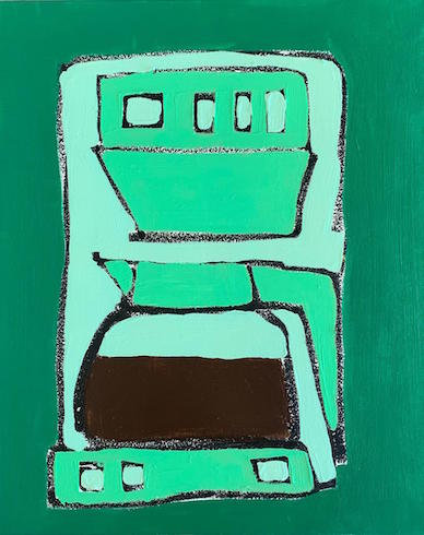 coffee maker, 2019, oil stick and acrylic on canvas, 51 cm x 41 cm