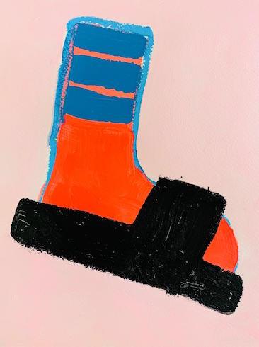 Socks series, 2019, oil sticks and acrylic on paper, 30 cm x 23 cm